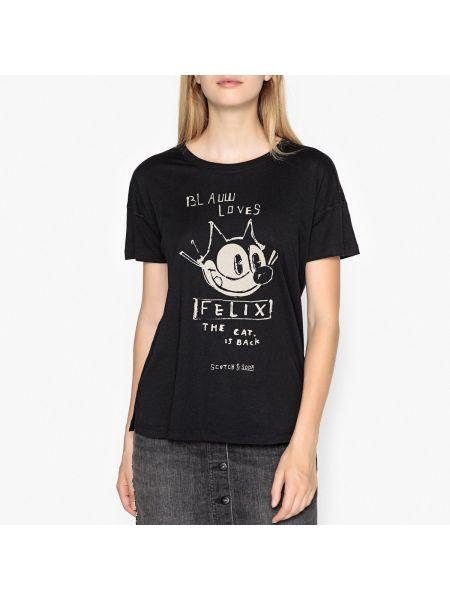Хлопковая футбольная черная футболка с круглым вырезом Maison Scotch