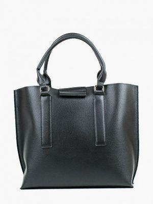 Черная кожаная сумка с ручками медведково