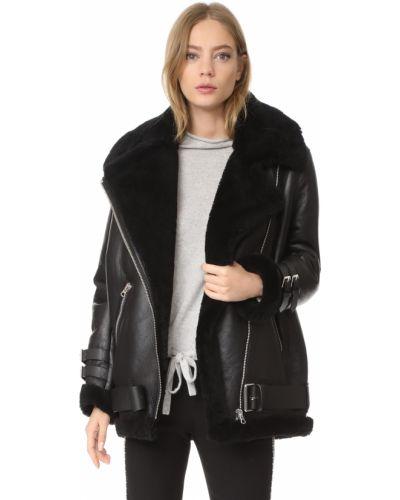 Черная кожаная длинная куртка с карманами Acne Studios