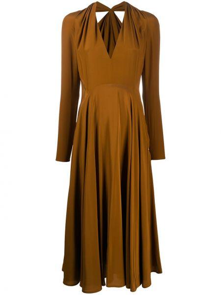 Шелковое коричневое расклешенное платье с вырезом Victoria Beckham