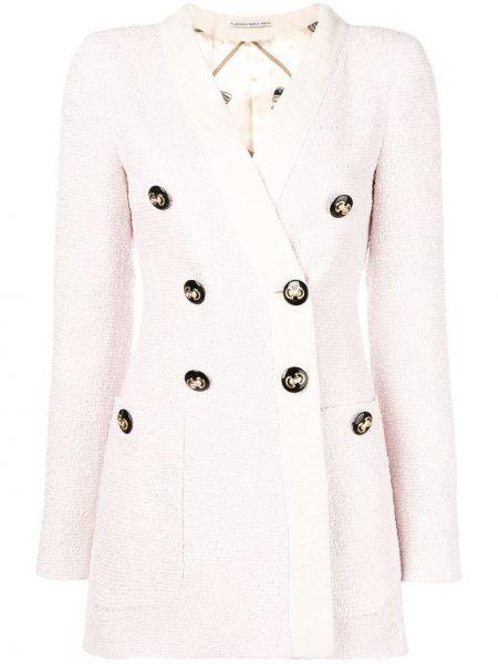 Розовый пиджак двубортный с карманами Alessandra Rich