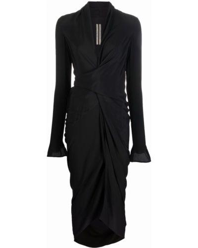 Sukienka rozkloszowana z długimi rękawami - czarna Rick Owens