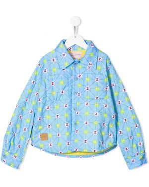 Хлопковая с рукавами синяя куртка с воротником Natasha Zinko Kids