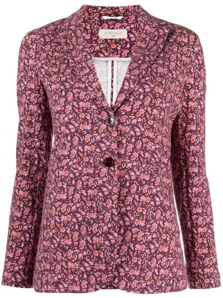 Однобортный розовый удлиненный пиджак на пуговицах Circolo 1901