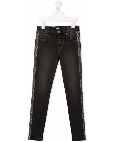 Облегающие серые джинсы с вышивкой Karl Lagerfeld Kids