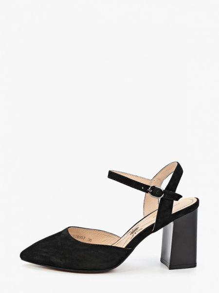 Замшевые туфли черные с открытой пяткой Pierre Cardin