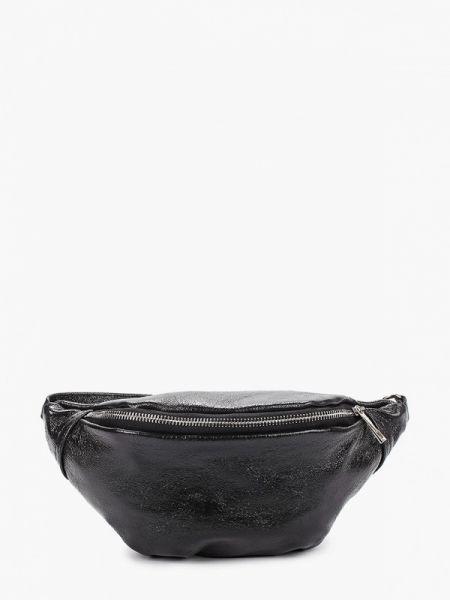 Кожаная сумка поясная черная Lamania