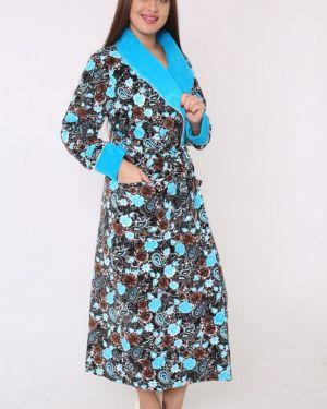 Халат велюровый синий инсантрик