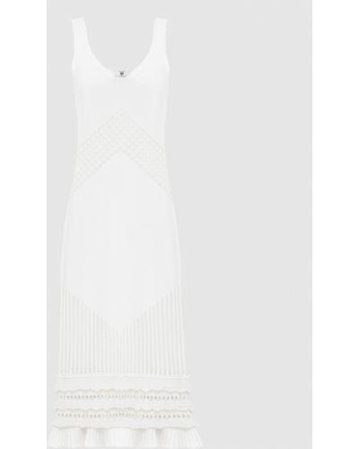 Белое платье миди с V-образным вырезом Twin-set