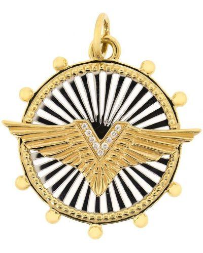 Золотистый желтый медальон с бриллиантом Foundrae