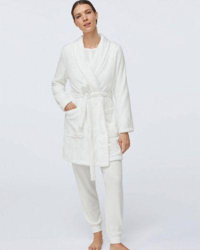 Флисовый домашний белый халат Oysho