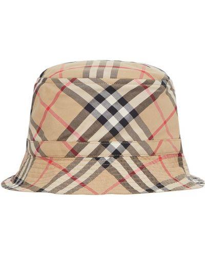 Beżowy kapelusz bawełniany z printem Burberry