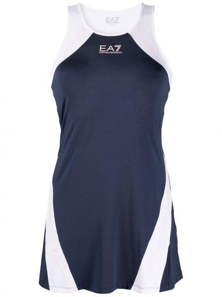 Платье без рукавов - синее Ea7 Emporio Armani