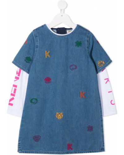 Niebieska sukienka mini krótki rękaw z haftem Kenzo Kids
