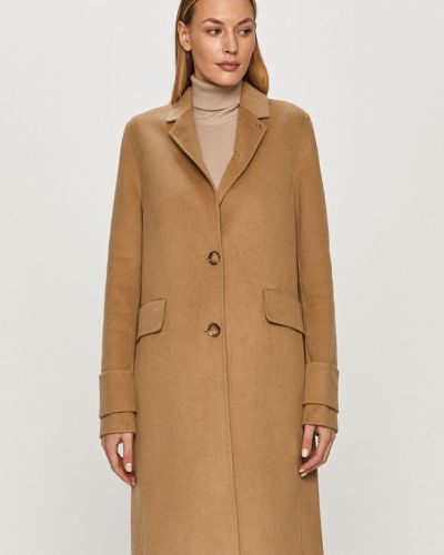 Beżowy płaszcz wełniany z kapturem Calvin Klein