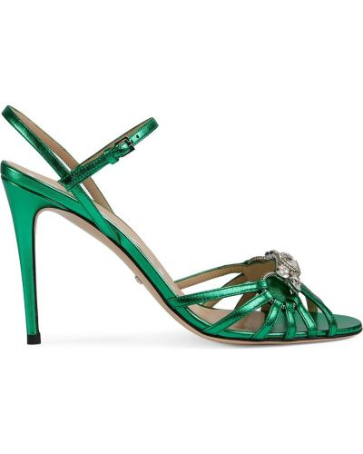 Zielone sandały skorzane klamry Gucci