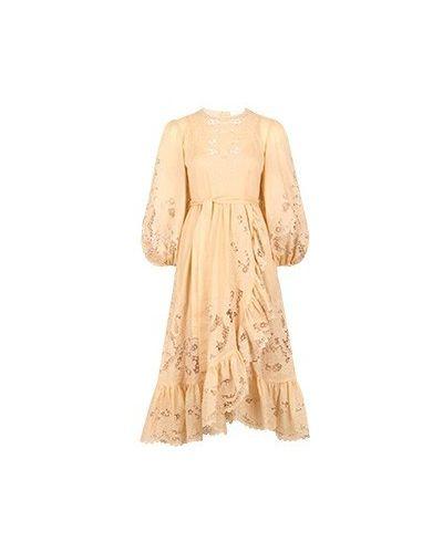 Хлопковое повседневное бежевое платье Zimmermann