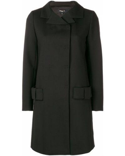 Черное длинное пальто с капюшоном на пуговицах Paule Ka