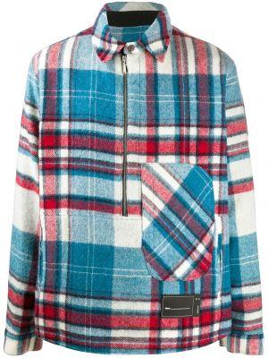 Синяя рубашка оверсайз с карманами из вискозы We11done