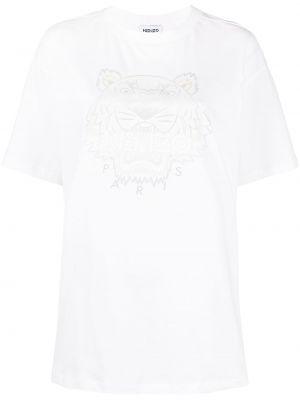 Трикотажная белая футболка с вырезом Kenzo