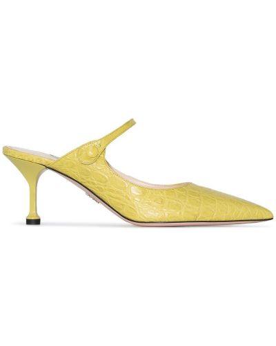 Мюли на каблуке из крокодила Prada