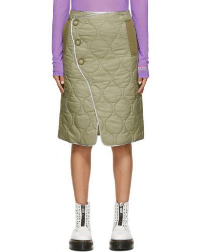 Нейлоновая зеленая юбка с карманами Sjyp