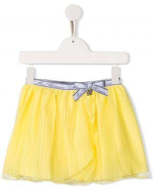 Хлопковая желтая юбка мини с поясом Miss Blumarine
