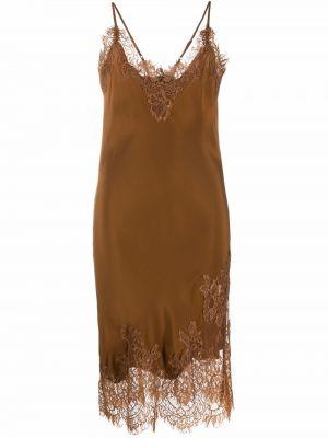 Коричневое шелковое кружевное платье Gold Hawk
