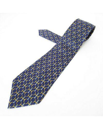 Złoty krawat - niebieski Hermès Vintage