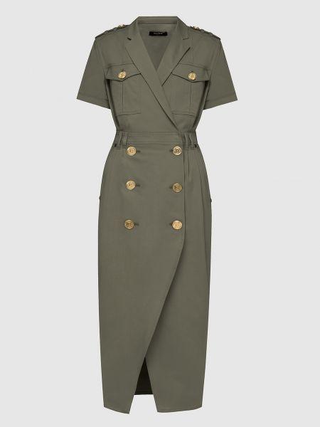Платье миди - зеленое Balmain
