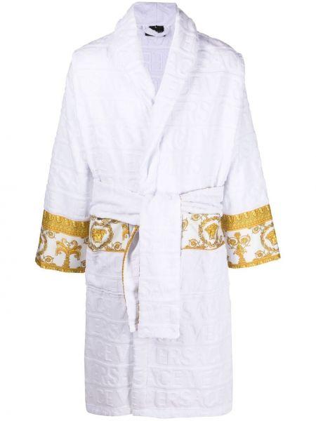Biały długi szlafrok bawełniany z długimi rękawami Versace Home