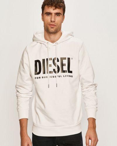 Biała bluza z kapturem bawełniana Diesel