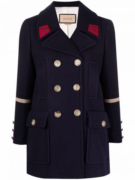 Płaszcz dwurzędowy wełniany - niebieski Gucci