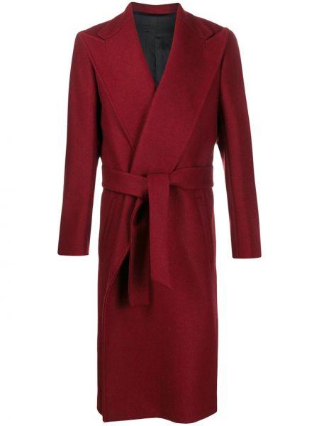 Красное классическое длинное пальто с поясом Christian Pellizzari