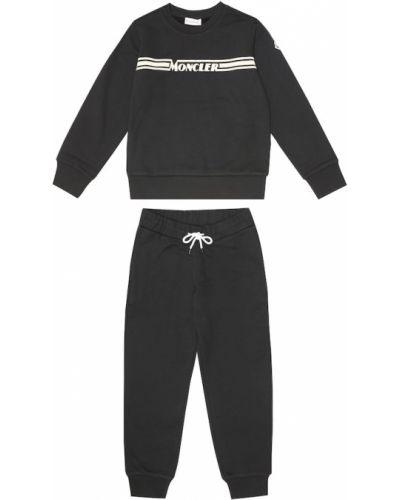 Bawełna bawełna czarny dres Moncler Enfant