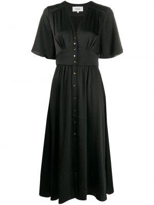 Черное платье миди с V-образным вырезом с оборками на пуговицах Ba&sh
