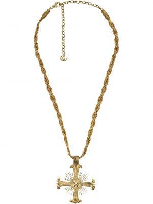 Желтое ожерелье с подвесками металлическое с жемчугом Gucci