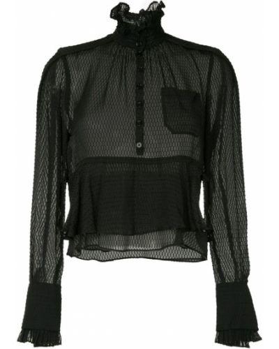 Блузка с длинным рукавом с рюшами черная Carven