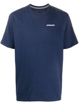 Хлопковая синяя прямая рубашка с короткими рукавами с круглым вырезом Patagonia