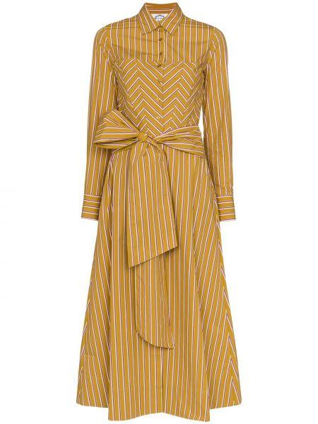 Розовое классическое платье макси с воротником с карманами Evi Grintela