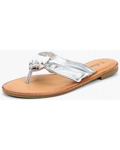 Сабо кожаные серебряного цвета Renda