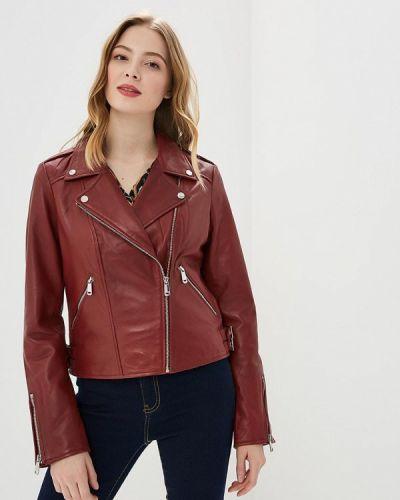 Кожаная куртка весенняя бордовый La Reine Blanche