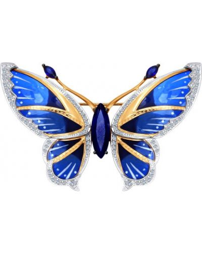 Брошь с камнями с бабочками Sokolov