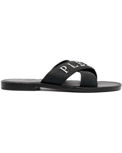 Czarne sandały skorzane peep toe Philipp Plein