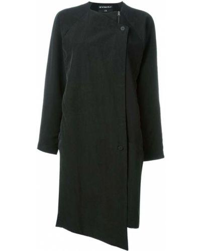 Черное однобортное пальто с капюшоном Minimarket