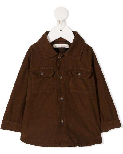 Brązowa koszula bawełniana z długimi rękawami Zhoe & Tobiah