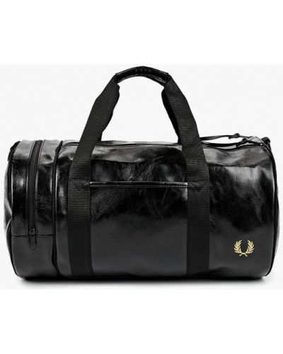 Кожаная сумка спортивная черная Fred Perry