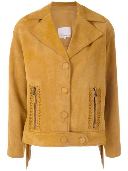 Желтая кожаная куртка с бахромой Nk