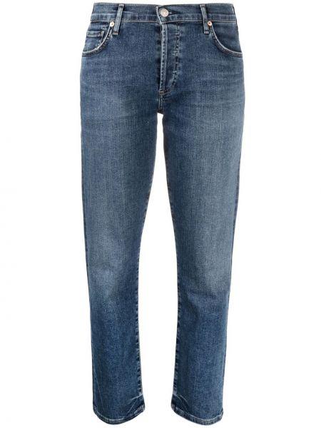 Хлопковые синие укороченные джинсы с карманами Citizens Of Humanity