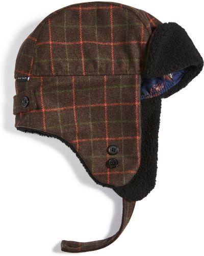 Brązowy kapelusz wełniany w kratę Ps Paul Smith